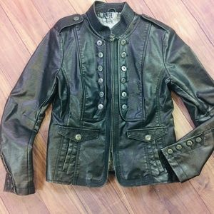 Vintage Guess Faux Leather Moto Jacket Large